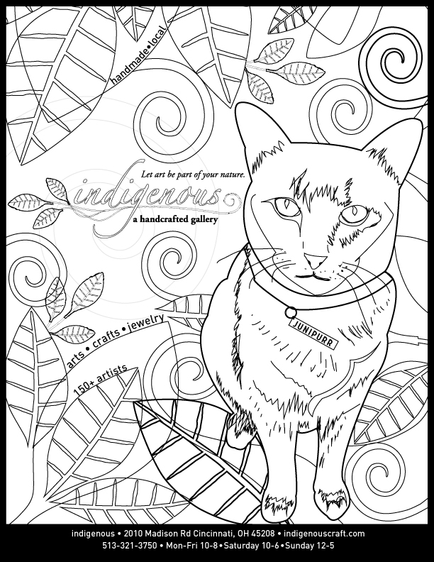 Junipurr's coloring book page for the Owl & Squirrel event